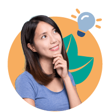 woman looking at lighbulb graphic